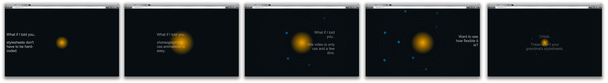Orbits - choreograph css animations with sass - Matt Copeland